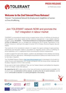 Tolerant Second Press Release  Join the Network